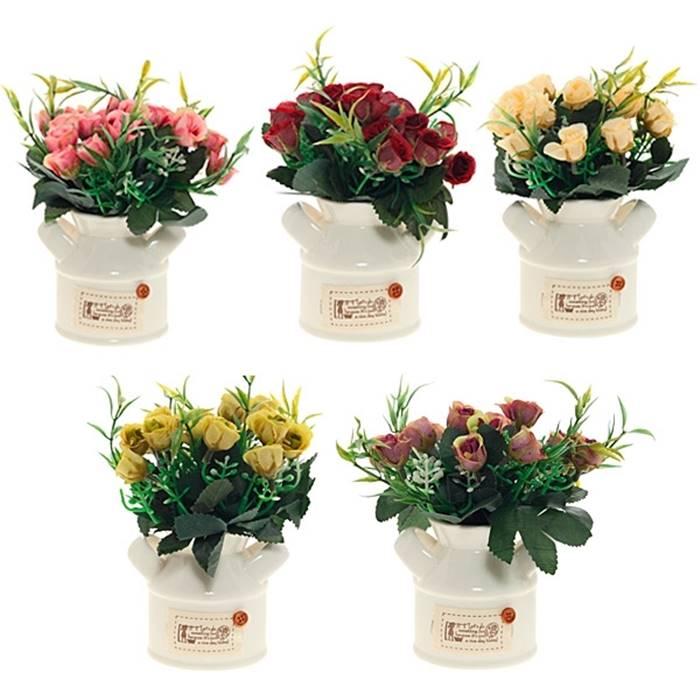 Цветочная композиция 644297 Искусственные цветы в керамическом кашпо, L10 W7,5 H16 см, 5 в. текстильные материалы, полимерные ма