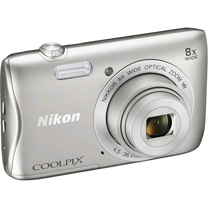 Цифровой фотоаппарат Nikon Coolpix S3700 Silver + case + 8GB SD