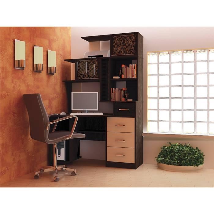 Стол компьютерный угловой бэйсик макси левый цвет венге/дуб.